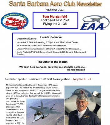 2012-11 Pg.1 Sample of Newsletter